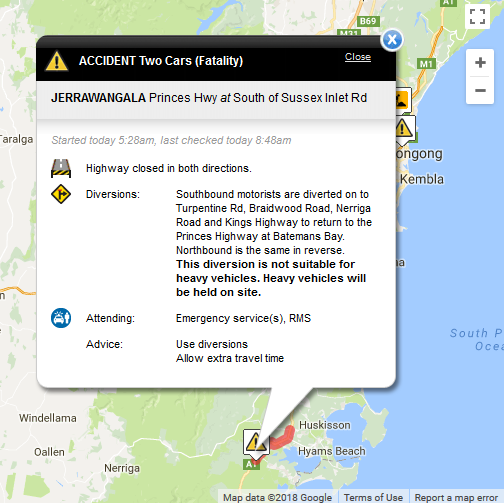 Accident south of Nowra closes highway