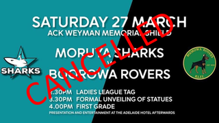 Moruya League cancelled however Weyman Statues to be officially unveiled 3pm Saturday