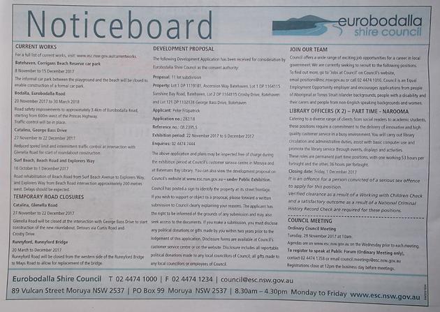 Council Noticeboard of Nov 22nd, 2017   The Beagle   Eurobodalla