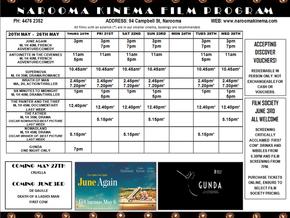 Narooma Kinema program May 20th to 26th