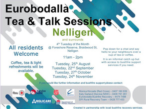 Eurobodalla Tea & Talk Sessions at Nelligen Commencing Tuesday 25 August