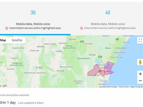 Mobile phone outage around Malua Bay