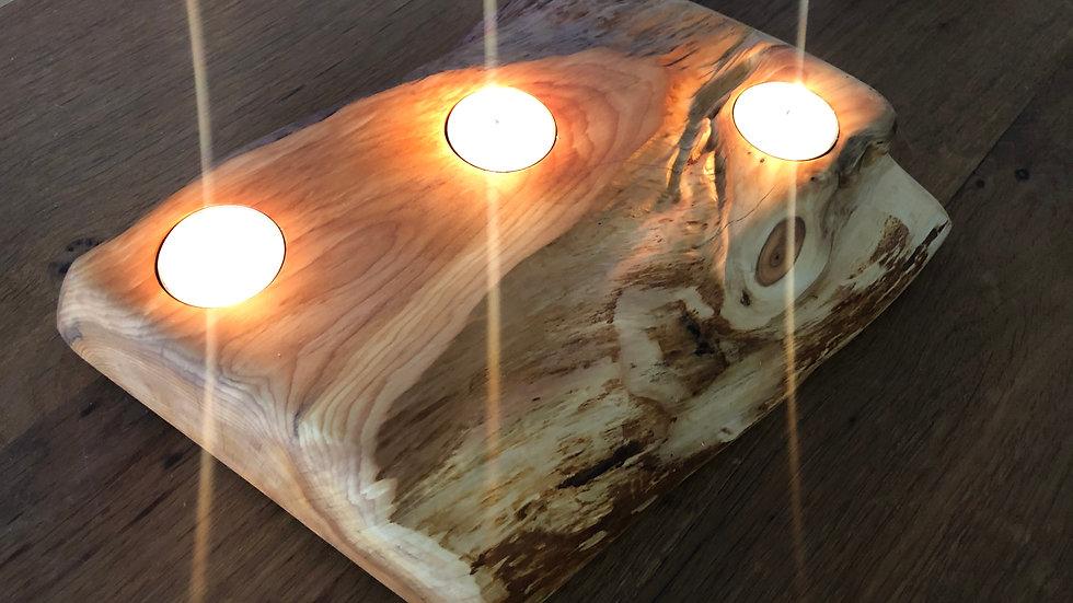 Yew Live edge tea light holder