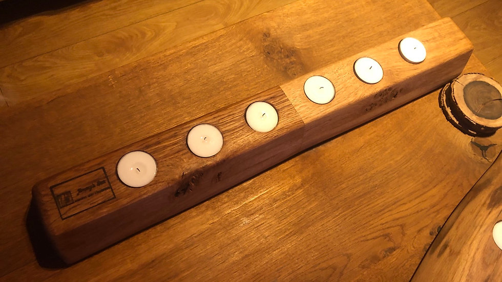 Light and dark brown English oak tea light holder