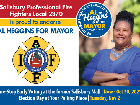 Al Heggins Accepts Historic Endorsement from Salisbury Professional Fire Fighters Local 2370