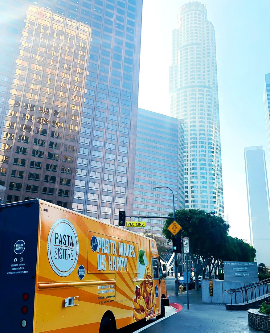 Pasta Sisters food truck and buildings