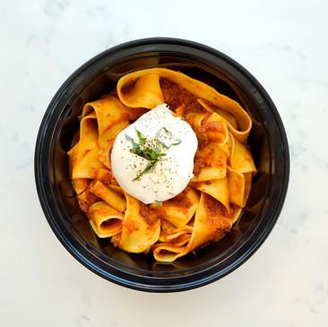 Pasta Bolognese with burrata