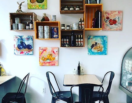 indoor restaurant with shelves and products