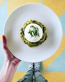 Tagliatelle pesto with burrata