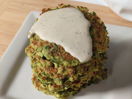 Zucchini Fritters with Garlic-Dill Sauce (GF, V)