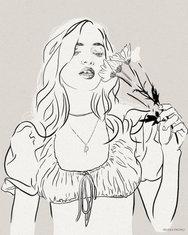 Daisy Ink Sketch Fashion Illustration