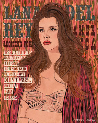 Lana Del Rey Music Illustration Poster
