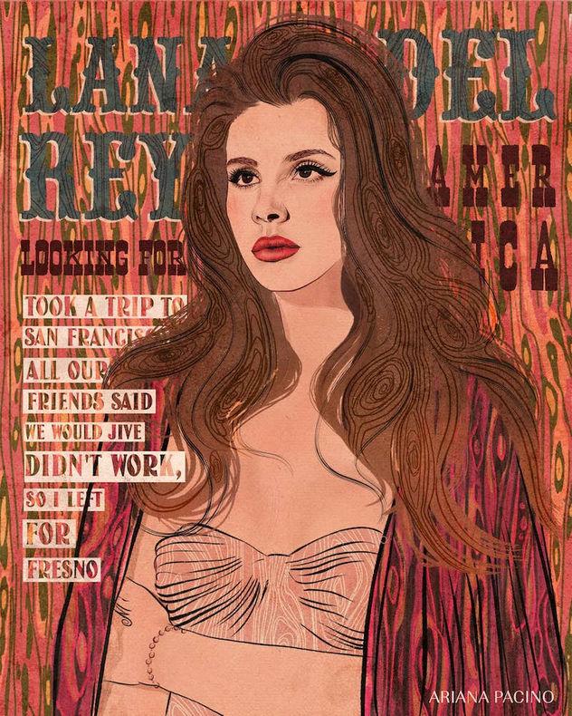 Lana Del Rey Music Illustration Poster