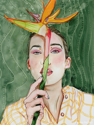 Bird of Paradise Watercolor Portrait by