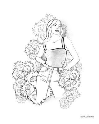 Dianthus Floral Portrait Sketch