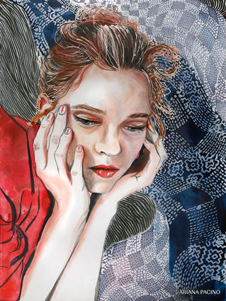 Indigo Textile Watercolor Fashion Portra