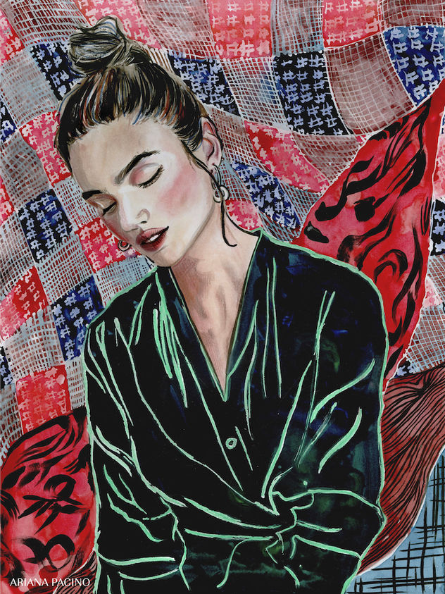 Quilted Textile Watercolor Portrait by A
