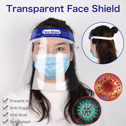 100 PCS Safety Face Shield Reusable Plastic Face Shield Full Face