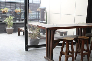 out door seating in the court yard and garden bar