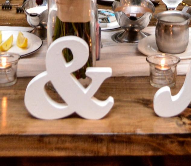White wooden Mr. & Mrs.
