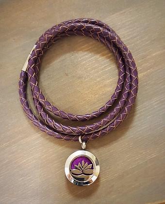 Purple Leather Wrap Bracelet w/ Silver Lotus Flower Aroma Diffusing Charm