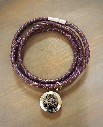 Purple Leather Wrap Bracelet w/ Silver Tree of Life Aroma Diffusing Charm
