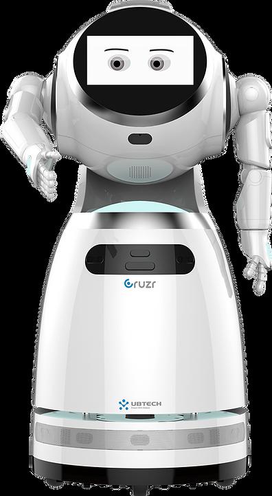Robot humanoïde CRUZR qui veut serrer la main de face, avec deux yeux