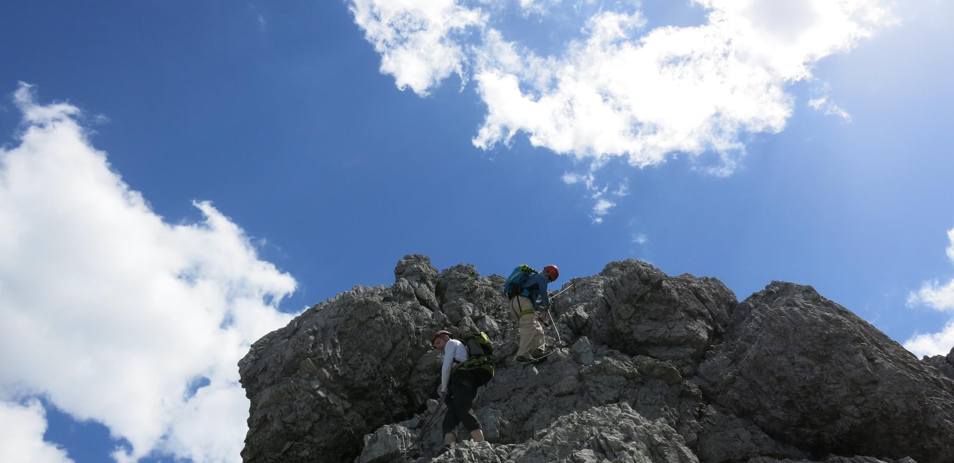Steile Passagen am Ochsenwand Kletterstei