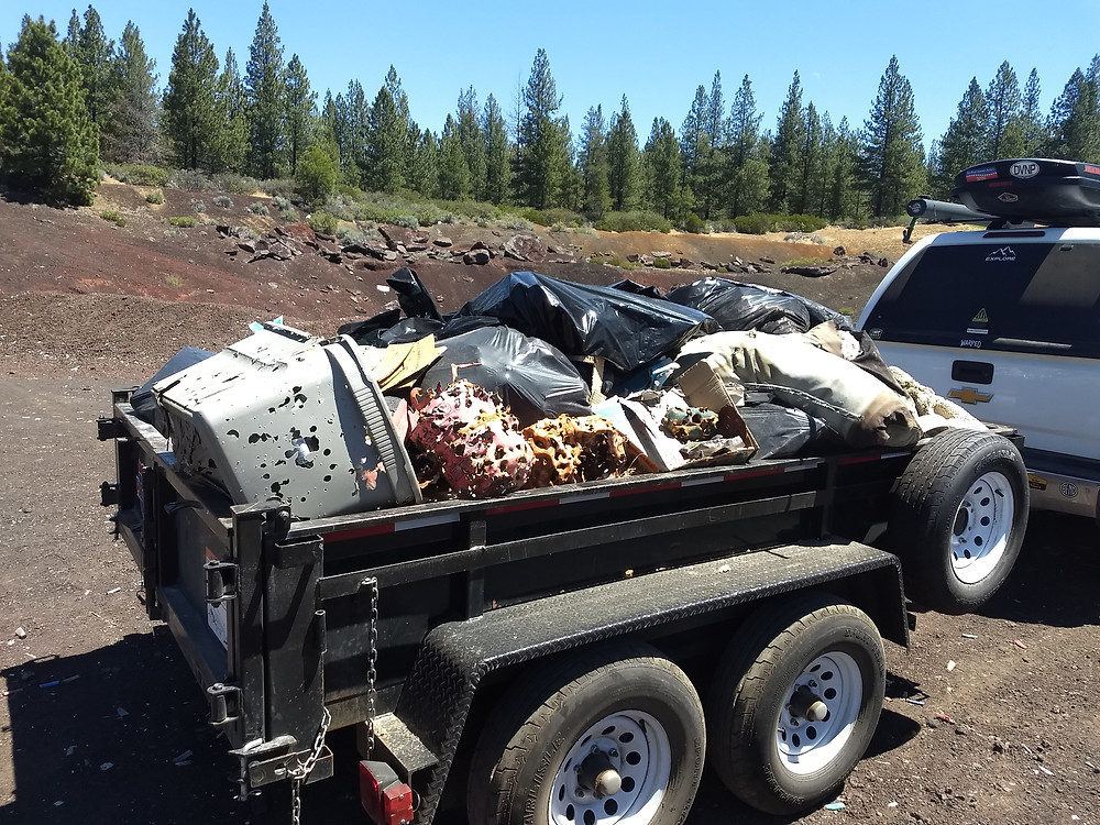one of several trailer loads of trash hauled from Camp Abbott target shooting area in Sunriver, Oregon