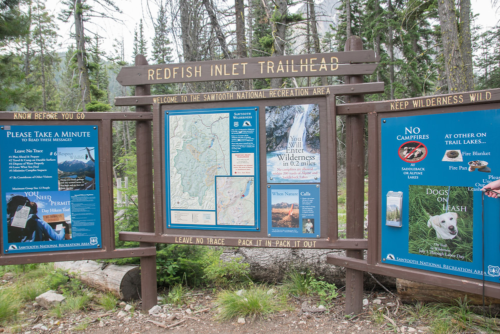 A trailhead in the Sawtooths NRA
