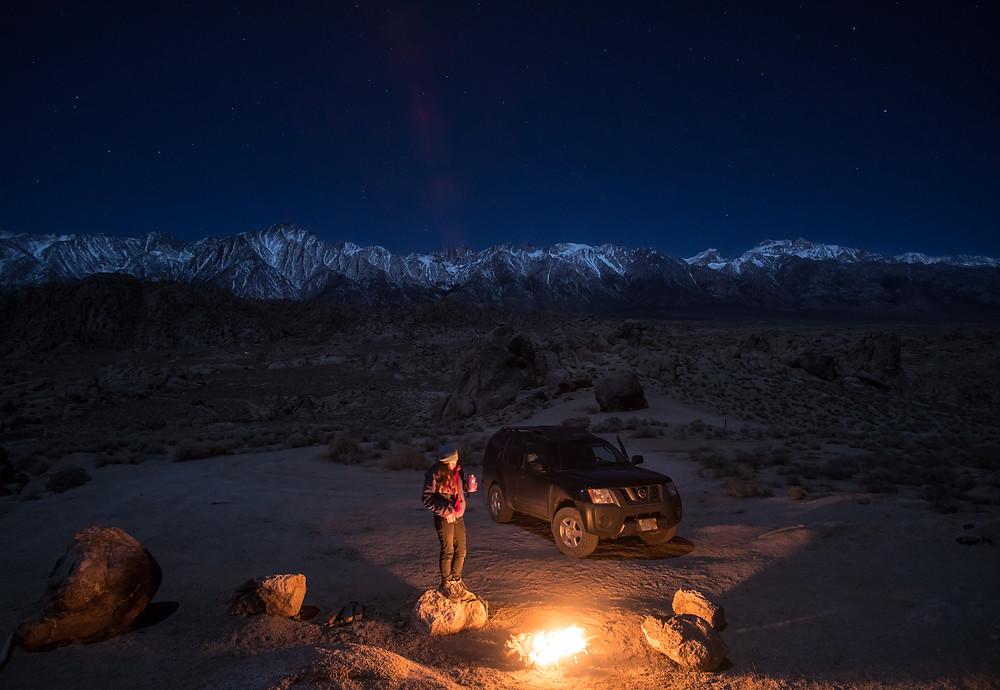 Camping in the Alabama Hills, beneath the moonlit Sierra Nevadas