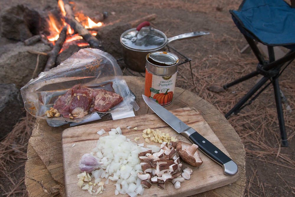 (Korean grilled skirt steak marinading; spicy pumpkin soup in the making)