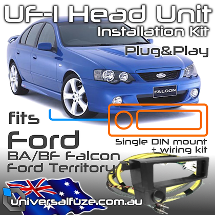 UF-1 Plug and play adapter fits Single DIN head Unit to Ford BA/BF/Territory