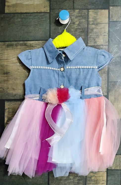 BABY GIRL CUP SLEEVES RAINBOW FRILLS DRESS