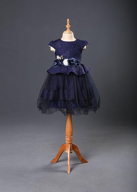 CAP SLEEVES FLORAL EMBELLISHED FLARED DRESS – Navy Blue