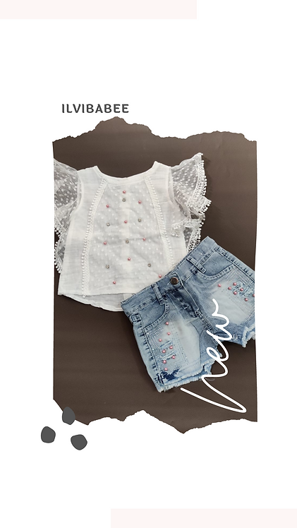 FRILL SLEEVES LACED BODICE TOP WITH BOTTOM