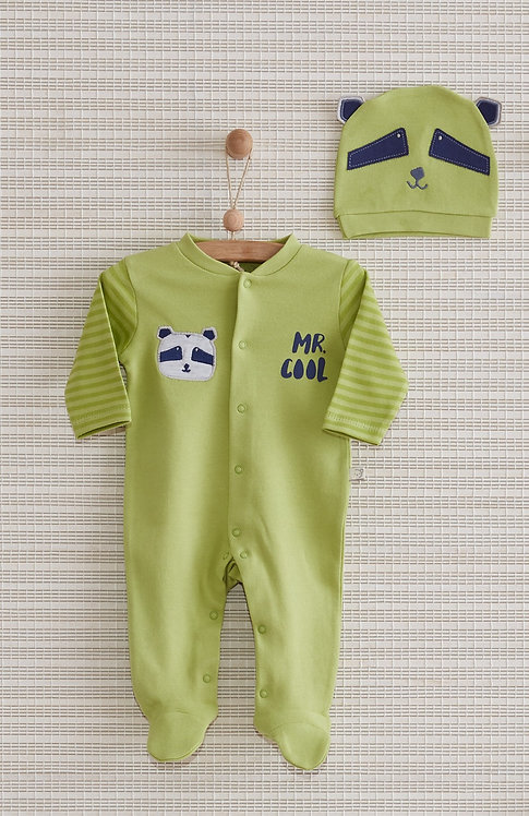 RACOON FULL SLEEVES FOOTED BABY BOY ROMPER WITH CAP