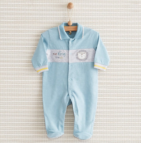 THE KING FULL SLEEVES FOOTED BABY BOY ROMPER