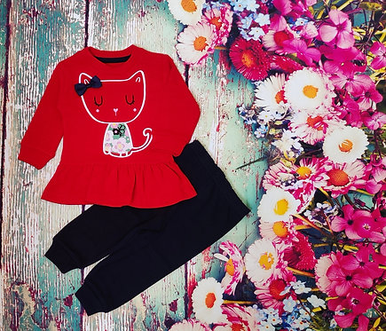 FULL SLEEVES CAT PRINTED TEE WITH JOGGER SET – RED