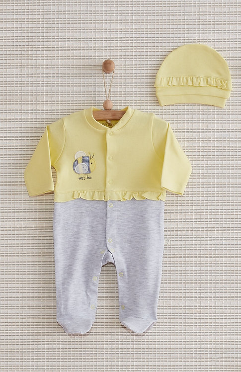 BEE FULL SLEEVES FOOTED BABY GIRL ROMPER WITH CAP