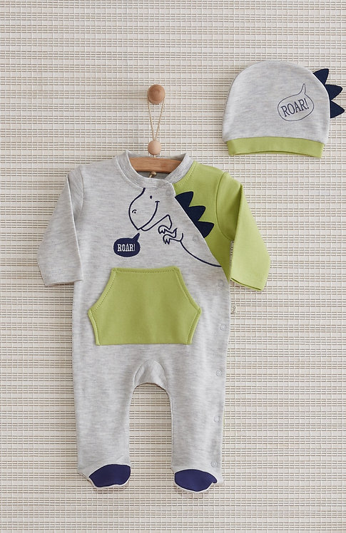 DINOSAUR FULL SLEEVES FOOTED BABY BOY / BABY GIRL ROMPER WITH CAP