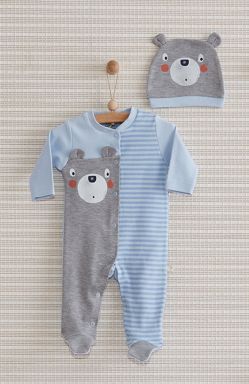 BEAR FULL SLEEVES FOOTED BABY BOY / BABY GIRL ROMPER WITH CAP