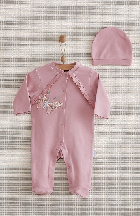 BUTTERFLY FULL SLEEVES FOOTED BABY GIRL ROMPER WITH CAP