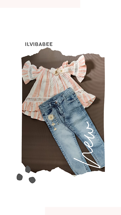 Off Shoulder Full Sleeves Striped Top with Denim Pants
