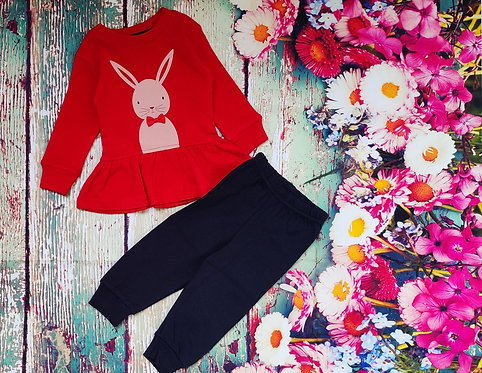 FULL SLEEVES BUNNY PRINTED TEE WITH JOGGER SET – RED
