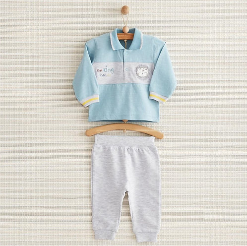THE KING BABY FULL SLEEVES COLLAR NECK TEE WITH PAJAMA