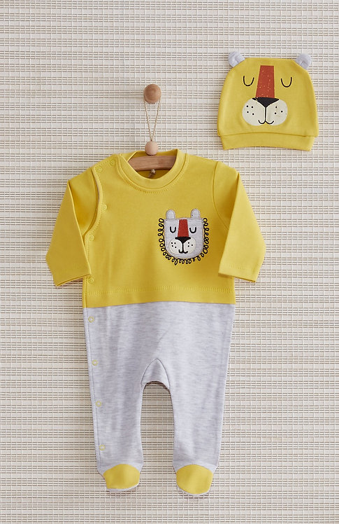 HAPPY LION FULL SLEEVES FOOTED BABY BOY / BABY GIRL ROMPER WITH CAP