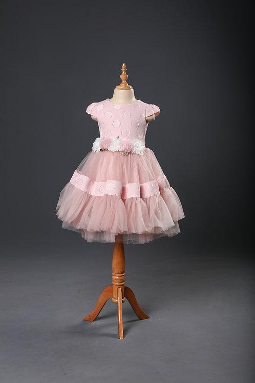 CAP SLEEVES FLORAL APPLIQUE DRESS – Pink