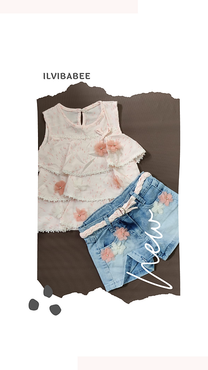 SLEEVELESS FLORAL DETAILED TOP WITH BOTTOM