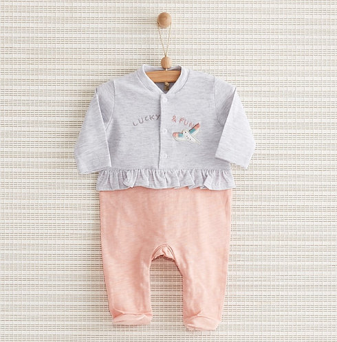 LUCKY FUN FULL SLEEVES FOOTED BABY GIRL ROMPER